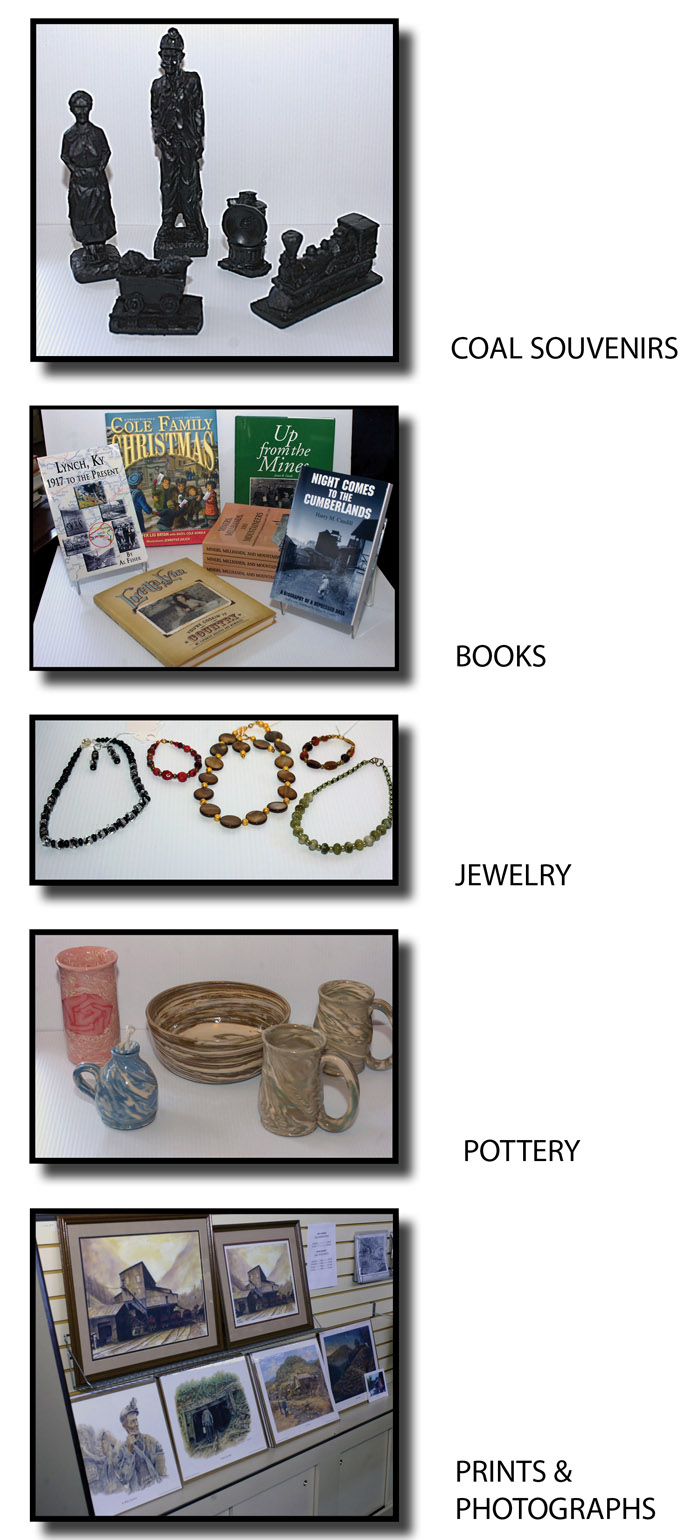coal souvenirs, books, jewelry, pottery, prints and photographs that are for sale in the commissary